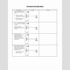 Constant Acceleration Worksheet