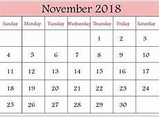 Free November 2018 Calendar in Printable Format Templates