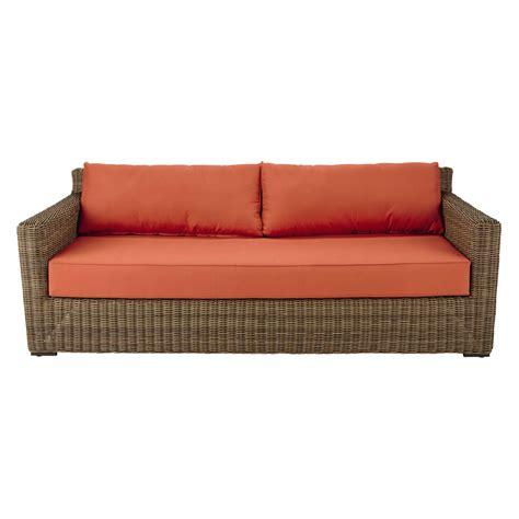 canape en resine tressee canapé de jardin 3 4 places en résine tressée et tissu
