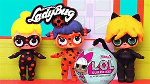 Baby Doll Play With Toys Ladybug, Cat Noir & Antibug Turn into LOL Surprise Dolls DIYCustom