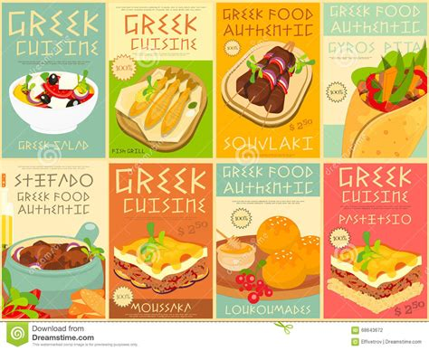 poster cuisine food posters set stock vector illustration of feta