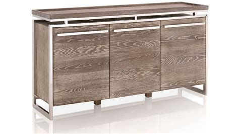 Libris Oak And Stainless Steel Buffet Sand Zuri Furniture