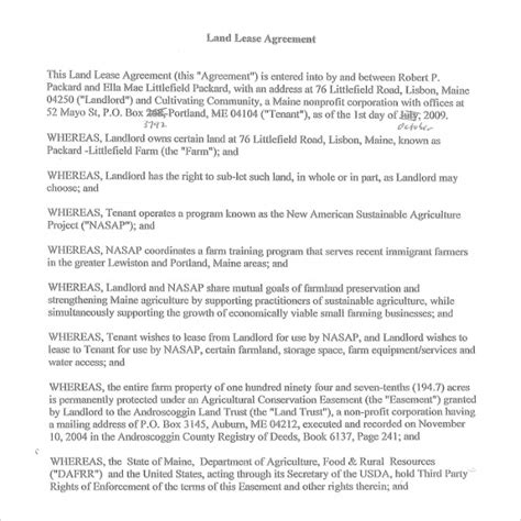 Land Rental Agreement Template by 9 Sle Land Lease Agreement Templates Sle Templates