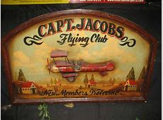 WOOD CAPTJACOBS FLYING CLUB SIGN