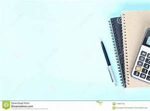 Top View Or Flat Lay Of Notebooks, Pen And Calculator On ...