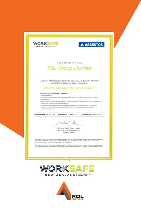 asbestos removal class  licence awarded  rdl group