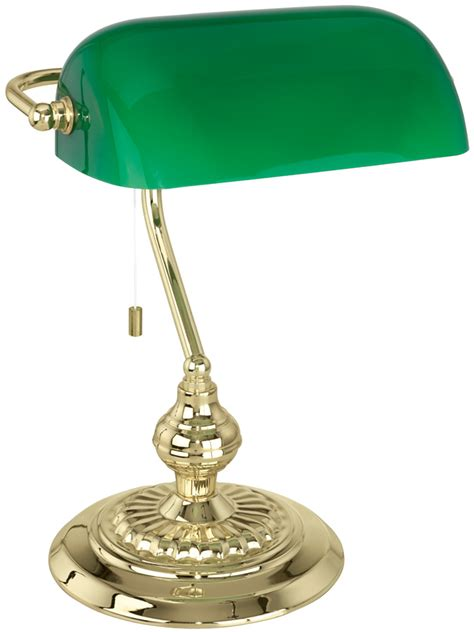 green desk l shade traditional polished brass banker desk l with green