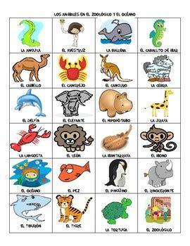 Zoo & Ocean Animal Vocabulary List By Hey Miss Senorita Black Tpt