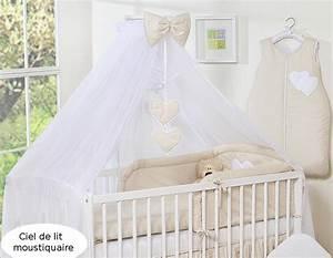 Ciel De Lit Bébé : ciel de lit b b en moustiquaire grand format beige pois coeurs ~ Teatrodelosmanantiales.com Idées de Décoration