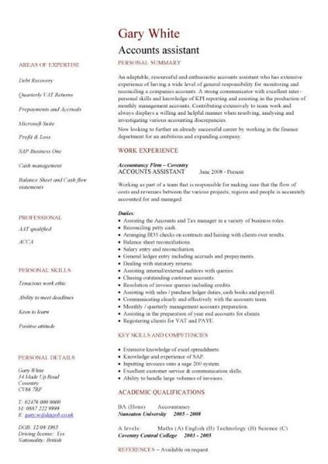 Sle Cv For Accountant by Accounting Assistant Resume Beauteous Resume Sle Of