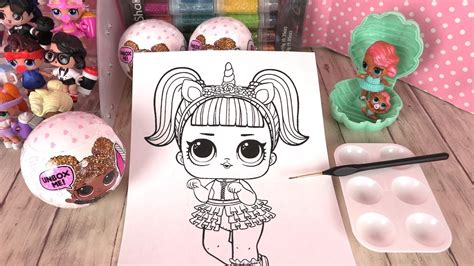 poupees lol coloriage unicorn confetti pop collection