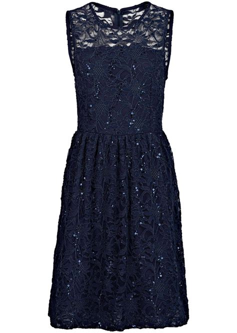spitzen kleid mit tellerrock blau
