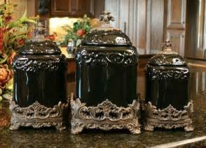 black kitchen canister black onyx design canister set kitchen tuscan ceramic fleur de lis large ceramics