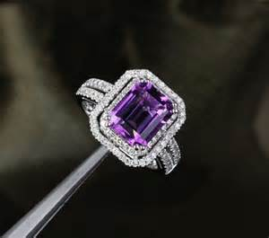 engagement rings amethyst vvs purple amethyst 14k white gold pave engagement ring yourgem jewelry on artfire