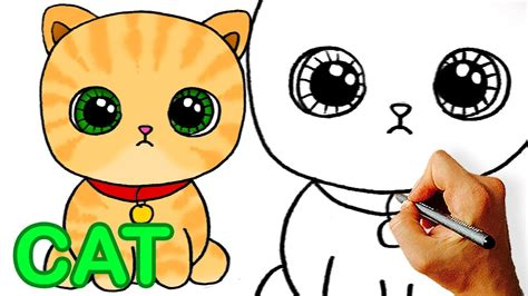 Very Easy! How To Draw Cute Cartoon Cat. Easy Art For Kids
