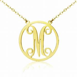 18k gold plated single monogram letter necklace With single letter necklace