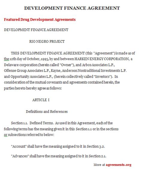 project finance agreement sample project finance