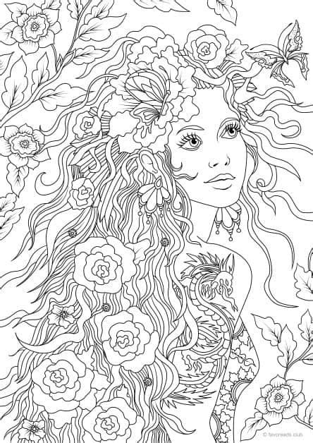 Girl with a Tattoo | Printable adult coloring pages, Adult