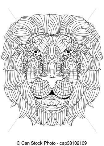 Lion head coloring vector for adults. Lion head coloring