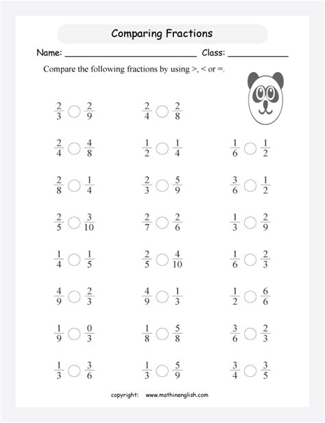 compare fractions worksheet  pictures comparing