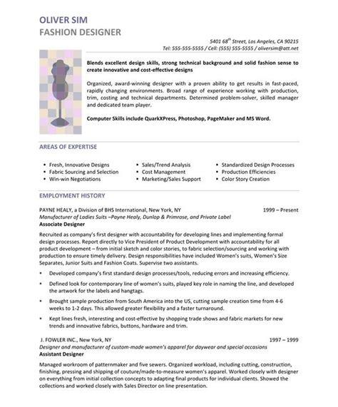 fashion designer page resume design resume sample