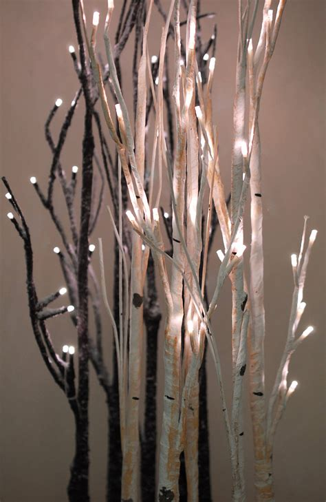 led tabletop  aspen birch trees