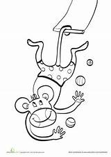 Trapeze Circus Coloring Monkey Animals Animal Template Artist Sheets Education Flying sketch template