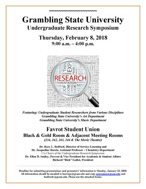 grambling state university undergraduate research symposium calendar