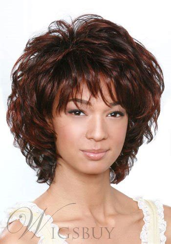 short curly dark brown mixed color layered hairstyle  full bangs capless synthetic hair