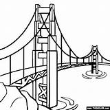Pages Bridge Coloring Gate Golden Super Sheets Drawing Printable Buildings Famous Colouring sketch template