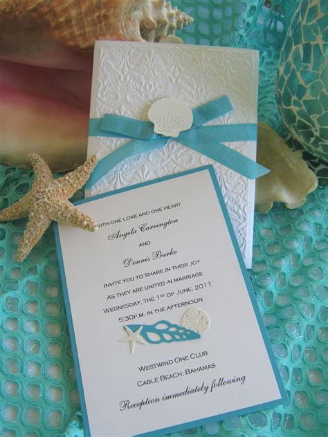 seashell and lace beach wedding invitation 45 00 via