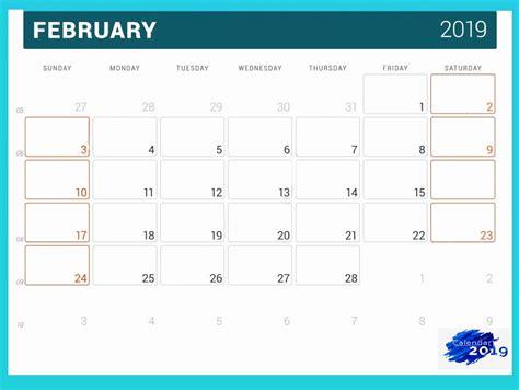 monthly february  printable calendar template