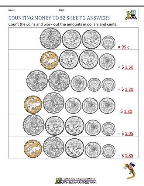 money worksheets australia