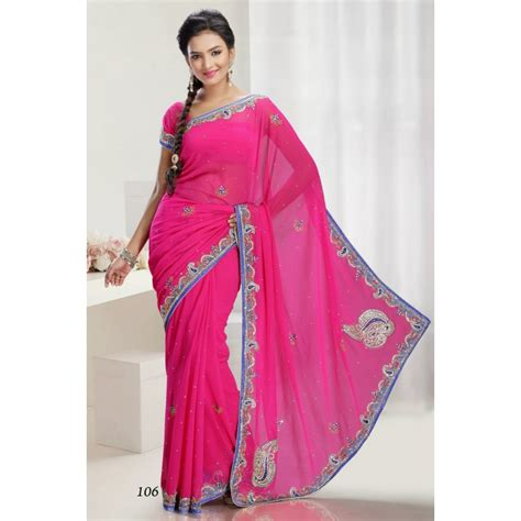 sari rose fuchia  bleu tenue indienne
