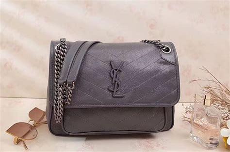 ysl saint laurent niki medium bag vintage leather  gray unrbru replica hermesceline