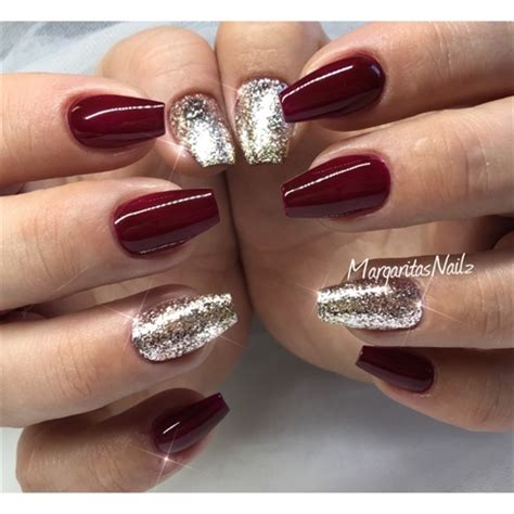 Dark Red And Glitter Ombru00e9 - Nail Art Gallery