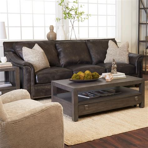 Pillows For Leather Sofa by Klaussner Wilkesboro Leather Sofa With Nailhead Studs And