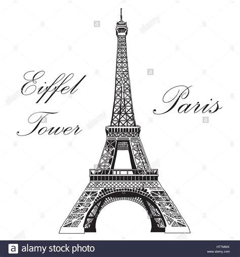 Vector Hand Drawing Illustration Black Eiffel Tower On