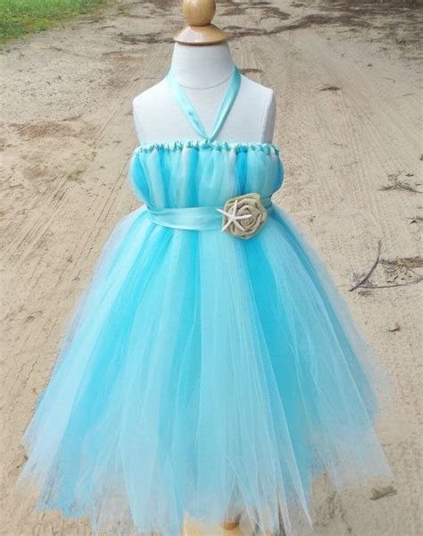 beach wedding flower girl dress aqua flower girl dress