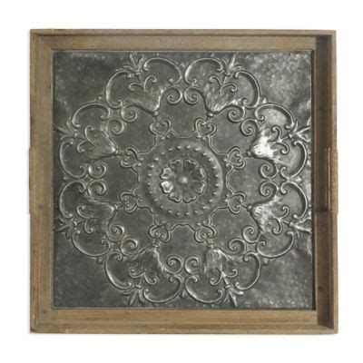 bee willow home embossed flower   square stamped metal tray wall art bed bath