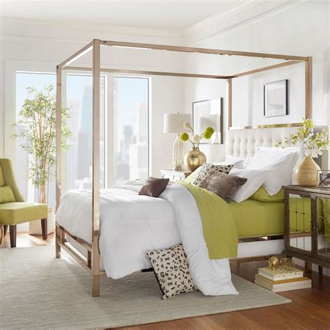37037 gold canopy bed canopy bed w white poster metal frame bed beds