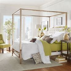 Queen Canopy Bed W Off White Poster Metal Frame Bed Beds