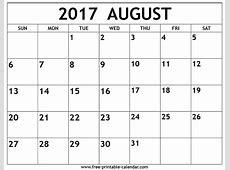 August 2017 Calendar calendar printable free
