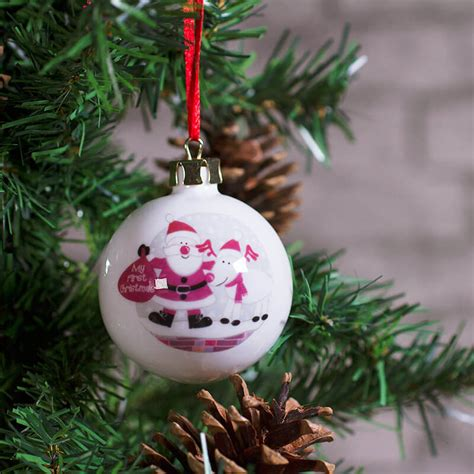 pink baubles next personalised bauble baby s buy from prezzybox