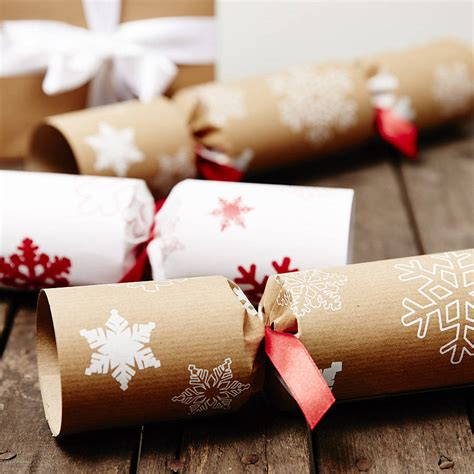 recycled snowflakes brown christmas crackers by sophia