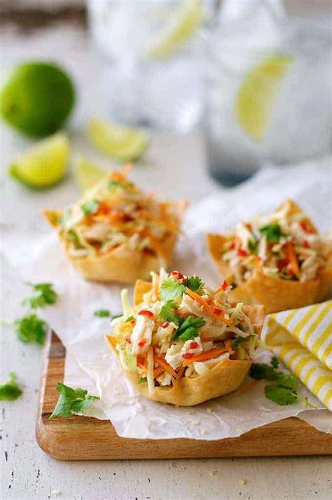 thai chicken salad wonton cups recipetin eats