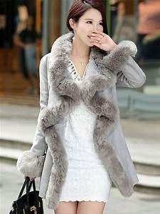 Veste En Daim Grise : manteau daim gris fausse fourrure ceinture manteau manches longues des femmes d hiver avec ~ Melissatoandfro.com Idées de Décoration