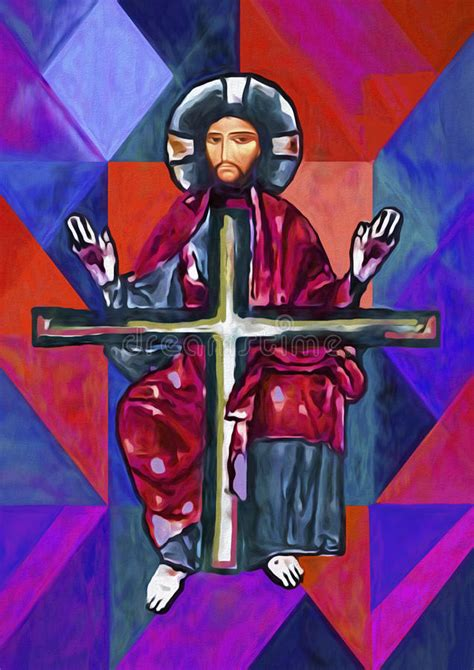peinture de jesus christ oil illustration stock