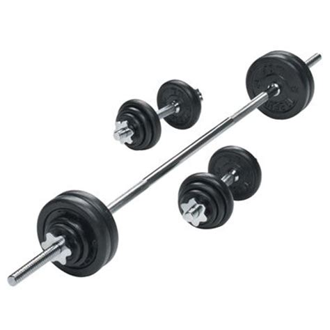 York 50kg Black Cast Iron Barbell And Dumbbell Set