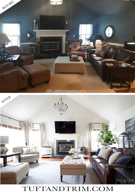 living room transformation tuft trim